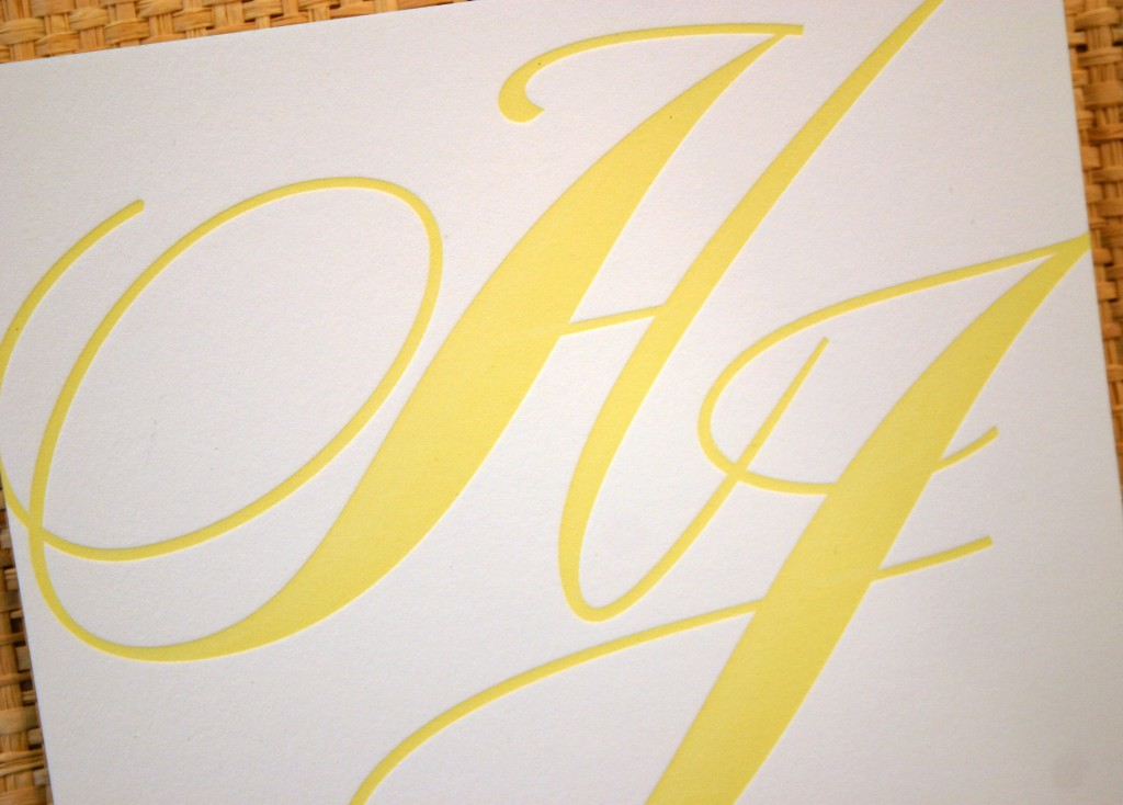 lemon letterpress ink makes a bold statement in calligraphy