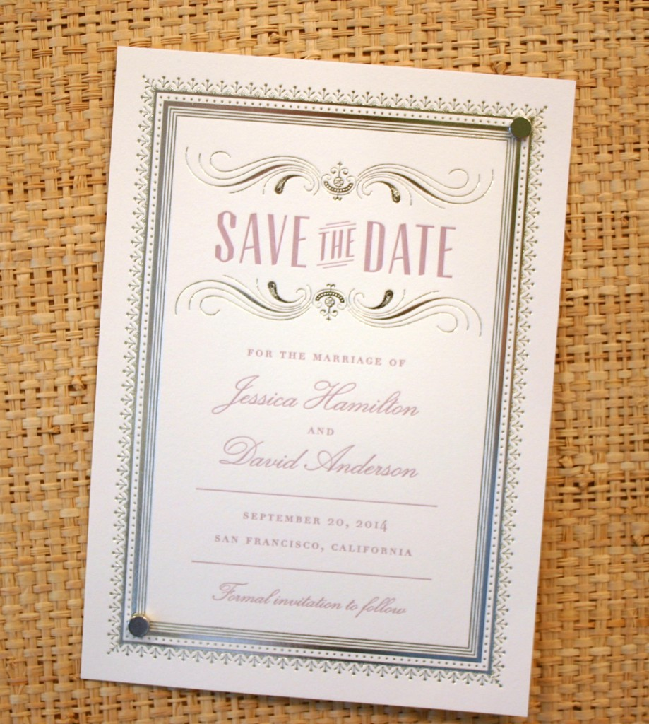 pastel purple and platinum foil are a perfect pairing on a vintage save the date