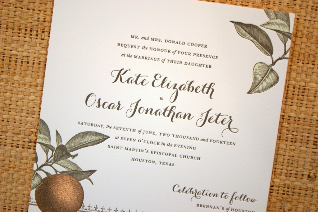 three color letterpress adds depth to the artwork on this sweet invitation