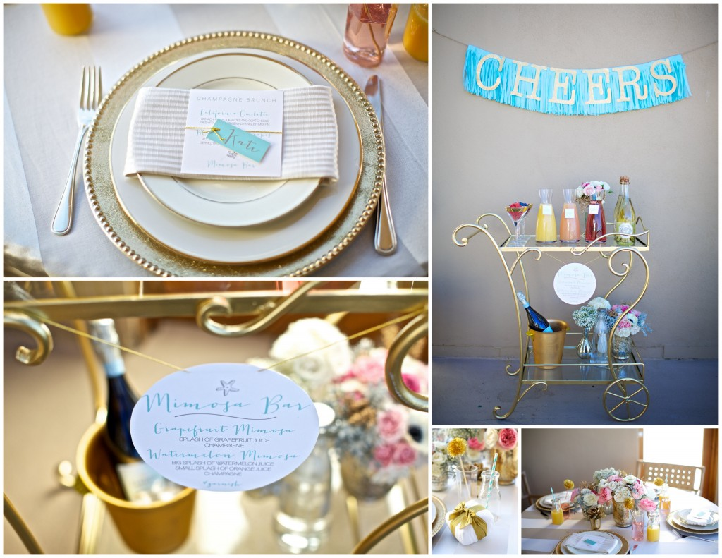 brunch in style with a fancy mimosa bar and cute paper details