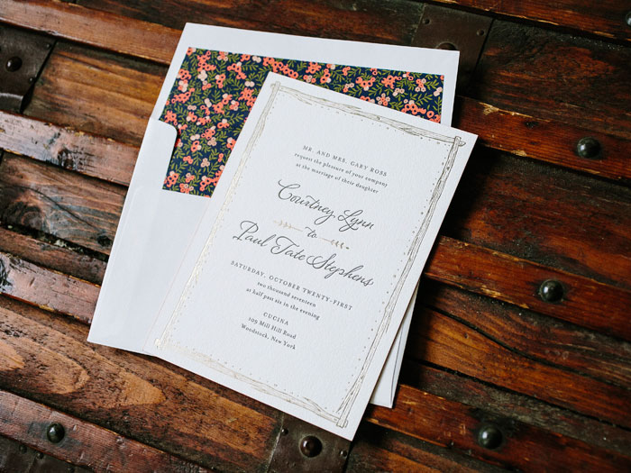 This customization of the Woodland design ties in foil stamped accents for a rustic look with a touch of glamour.