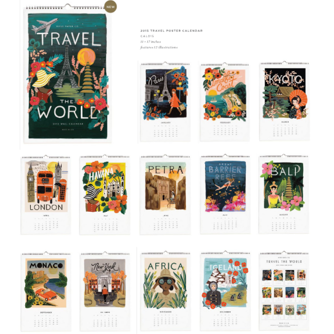 Rifle Paper Co. 2015 Travel The World, Wall Calendar