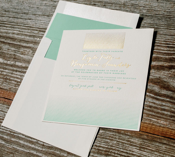 Stipple features letterpress printing in sea-side ink and gold shine foil stamping.