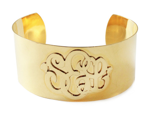 Castel Cuff Available in 22K Gold Overlay, Sterling Silver, Sterling Silver w/Gold Monogram, 14K Yellow Gold, 14K Rose Gold, 14K White Gold