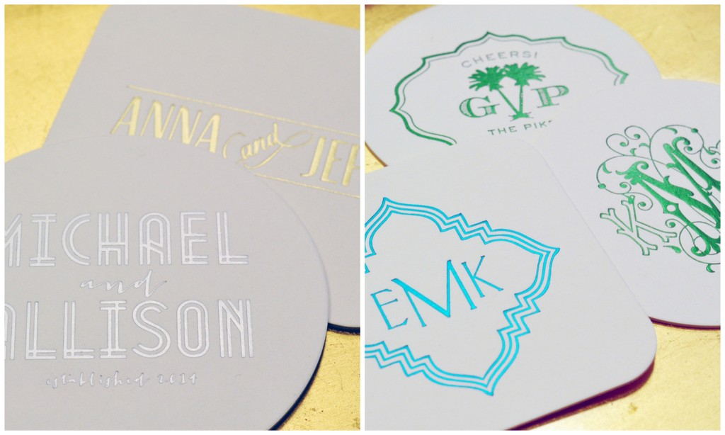 for the entertainers in your life! personalize coasters in letterpress or foil