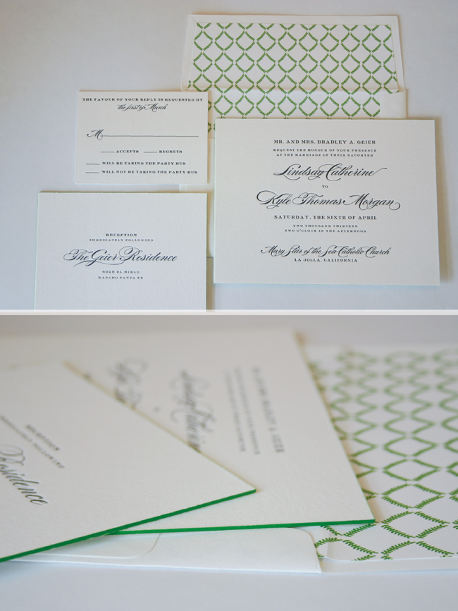 black letterpress with grass green edge paint and a custom liner are just right for a sophisticated garden wedding