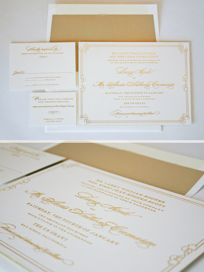 a vintage frame and gold foil set the tone for a regal wedding at the US Grant in San Diego