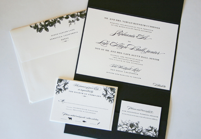 a black pocketfold and florals add an elegant touch to a classic design