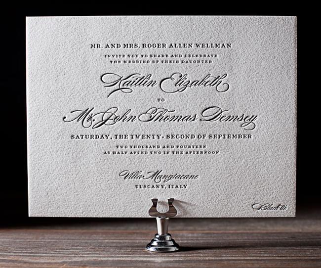 A Classic Wedding Invitation