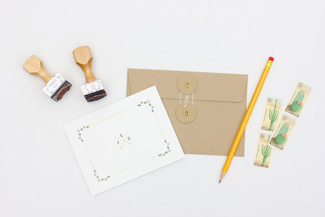 show off your new monogram with coordinating thank you notes