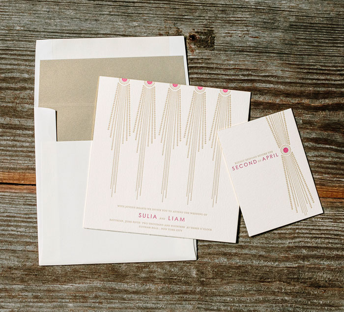 Bejeweled by Bella Figura shows off antique gold and fuchsia letterpress inks on our ivory paper.