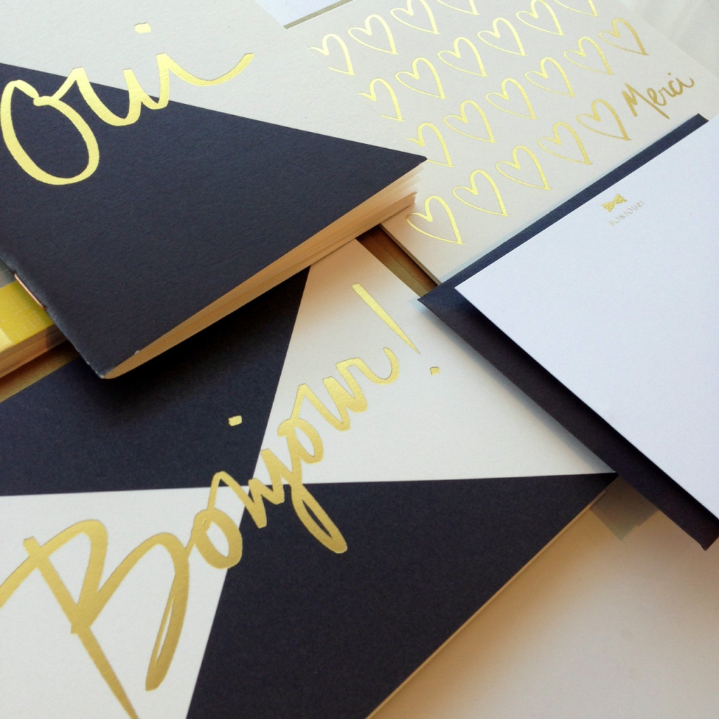 Oui Pocket Notepads, Bonjour Card, and Merci Gold Foil Hearts Card all by Rifle Paper Co, Bonjour Bow-tie Stationery by Fig 2. Design