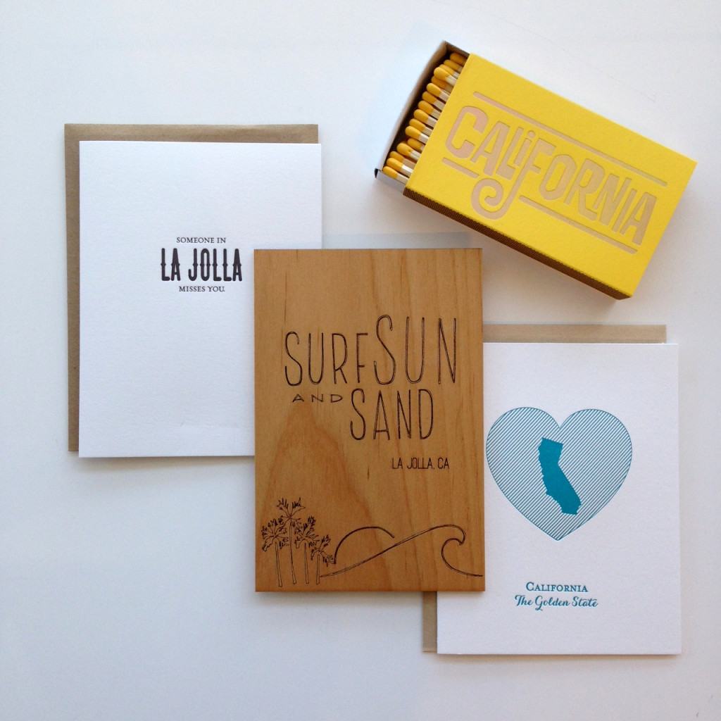 Someone in La Jolla Misses You by Saplin Press, Surf Sun and Sand Wooden Card by Cardtorial,  Golden State Card by Pistachio Press, California Dreamin' Matches by The Social Type
