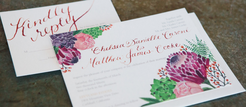 Custom Watercolor Wedding Invitations