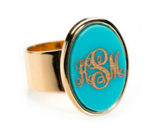 Vineyard Oval Ring Available in 30 Acrylic Colors, with Gold Overlay or Silver Monogram and Band
