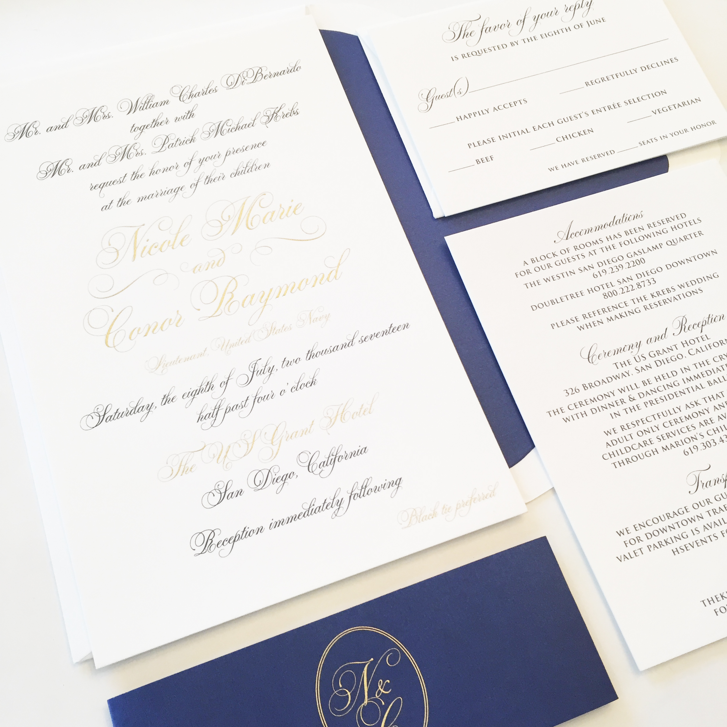 Being A Military Wedding, It Was Important To Incorporate Navy Into Their Wedding  Invitation Design. In Wanting To Keep The Invitation Itself In Neutral ...